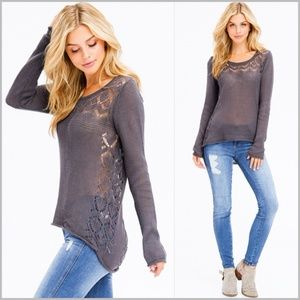 Charcoal Gray Crochet Knit Sweater
